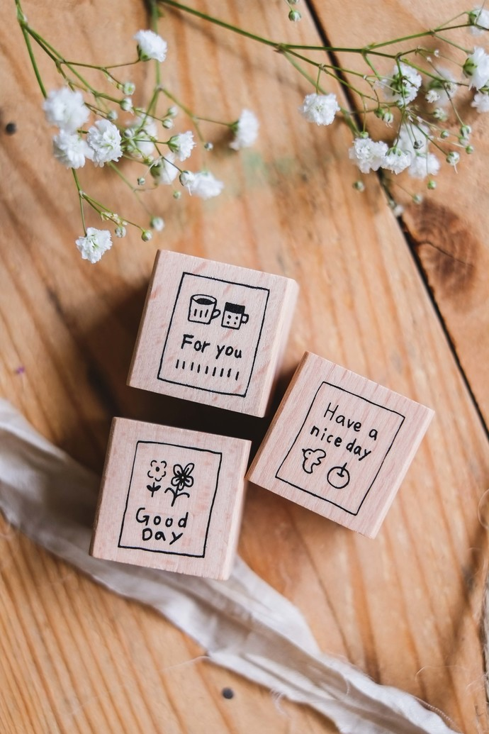 Evakaku stamps - Little Care - wooden stamps from Taiwan