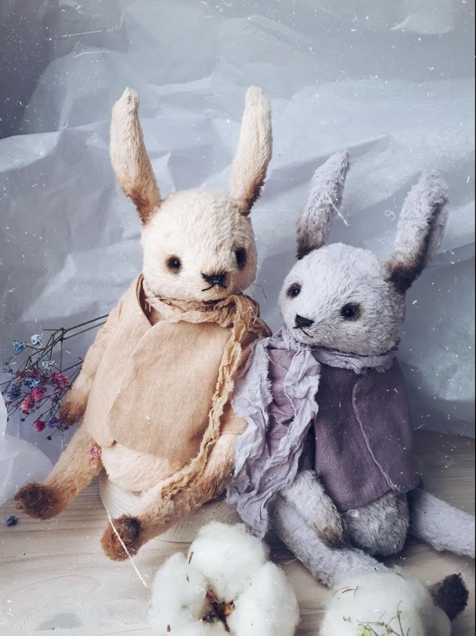 Traditionally handmade teddy bear in purple - Isabelle - Gulnaz beautifully