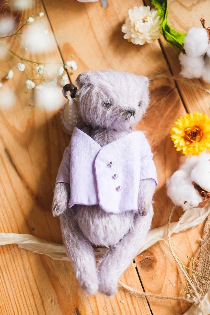 Traditionally handmade teddy bear in purple - Kaia - Gulnaz beautifully handmade
