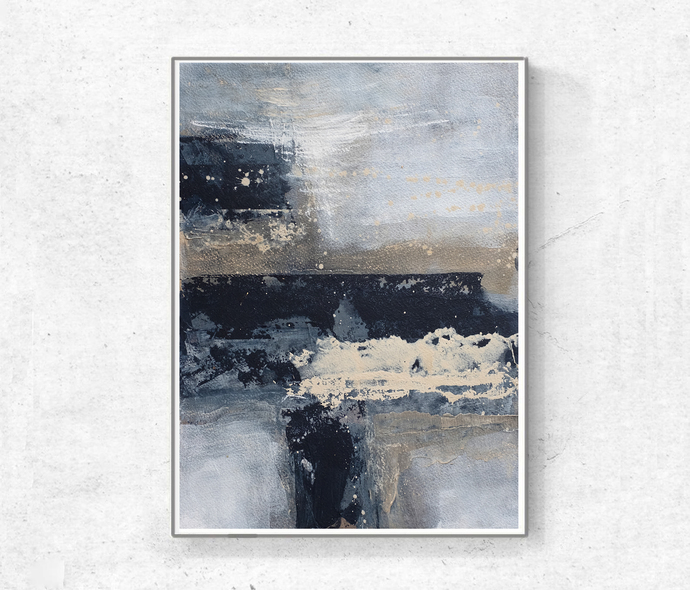 Digital abstract, contemporary art, Scandinavian abstract ,navy and beige