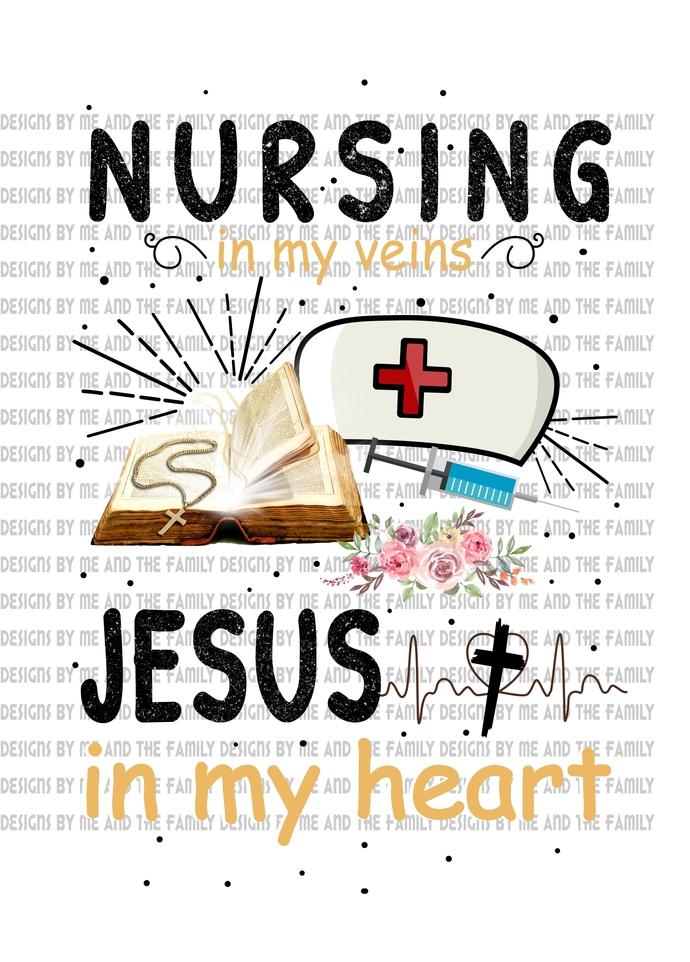 Nursing in my veins Jesus in my heart, cross necklace, Way maker, Ester 4:14,