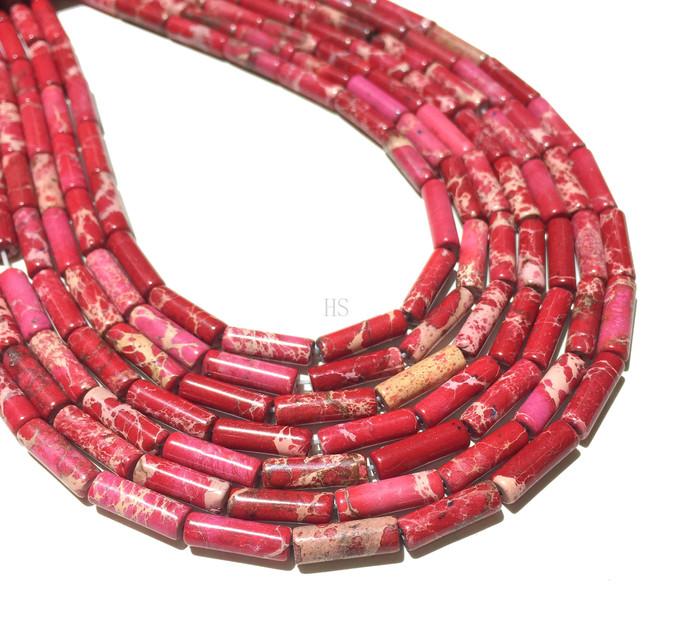Natural Round Tube Red Imperial Sediment Jasper Healing Gemstone Loose Bead
