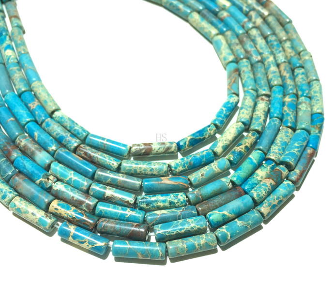 Natural Round Tube Light Blue Imperial Sediment Jasper Healing Gemstone Loose