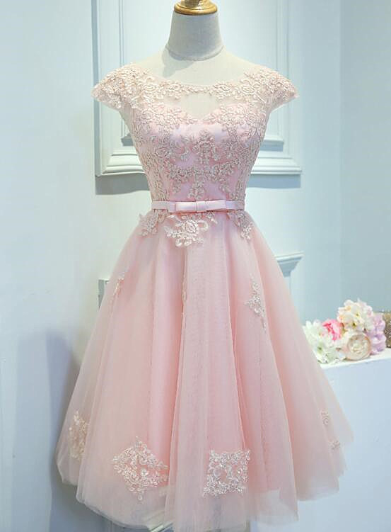 Light Pink Tulle Short Homecoming Dress, Pink Prom Dress