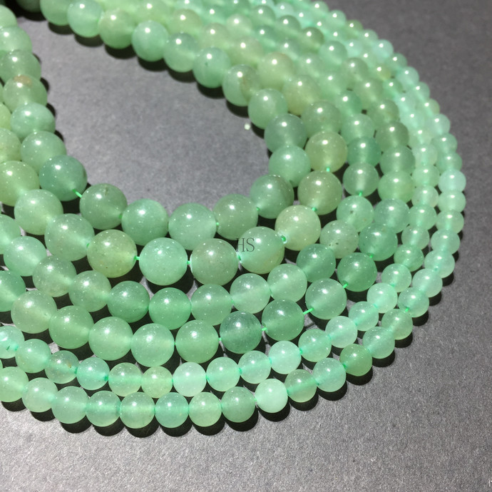 Natural Round Green Adventurine Jasper Healing Gemstone Loose Beads Bracelet