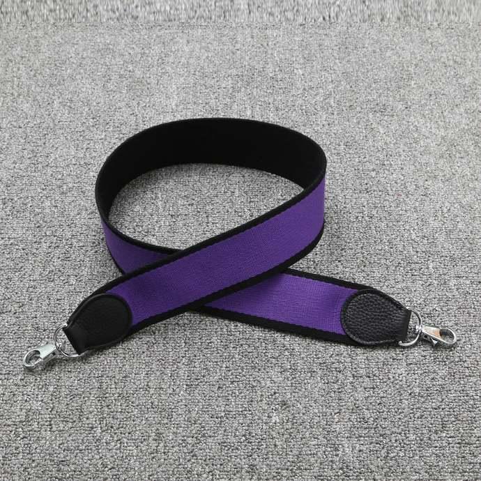 """2"""" Wide Bi-color Black/Purple Canvas Shoulder Strap Crossbody Bag Purse Handbag"""