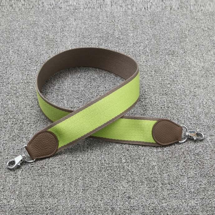 "2"" Wide Bi-color Etoupe/Apple Green Canvas Shoulder Strap Crossbody Bag Purse"