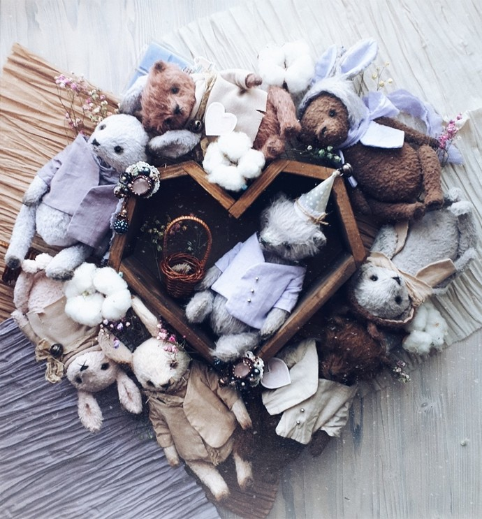 Traditionally handmade teddy bear in purple - Laima - Gulnaz beautifully