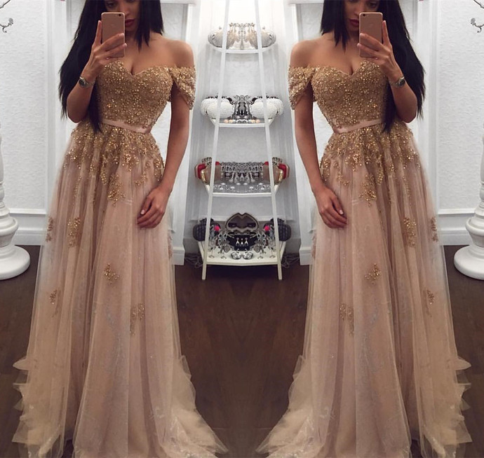 Champagne Tulle with Lace Applique Sweetheart Evening Dress, Long Formal Gown