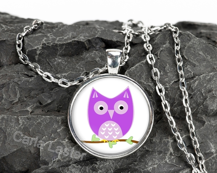 Memorial Day sale, Purple owl art pendant necklace, silver necklace, made in
