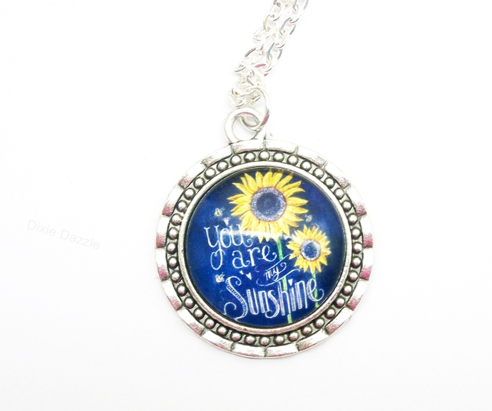 You are my sunshine art pendant necklace, silver necklace, made in Chattanooga,