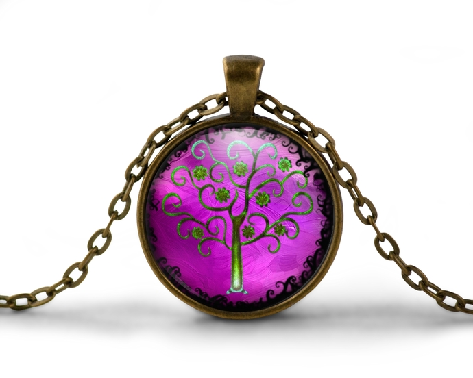 Memorial Day jewelry sale, fantasy tree, purple and green curly tree art