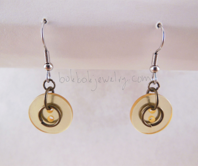 Handmade Yellow Upcycled Button Earrings