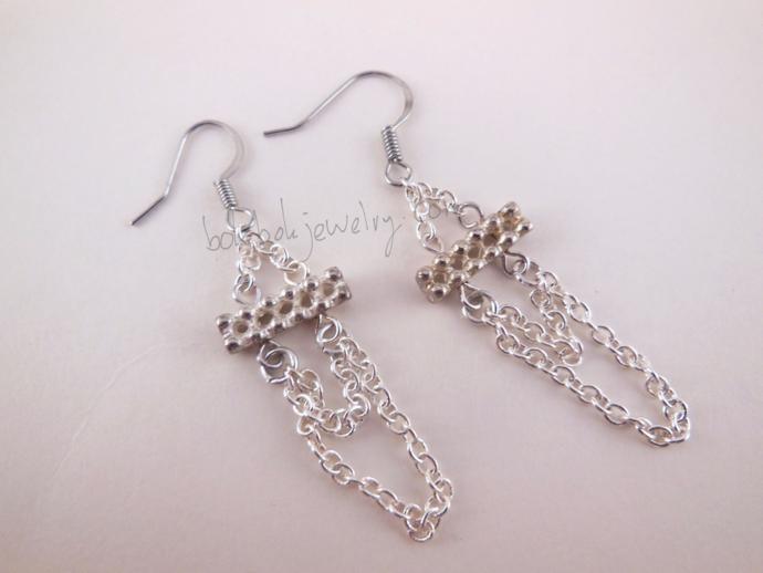 Handmade Beaded Chain Loop Earrings