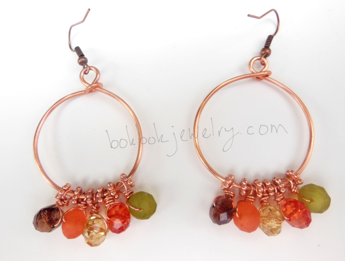 Handformed Beaded Copper Hoop Earrings - Hypoallergenic Option