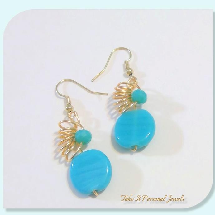Wire Work Turquoise Gold Earrings Handmade Modern Jewelry Wire Beaded Earrings