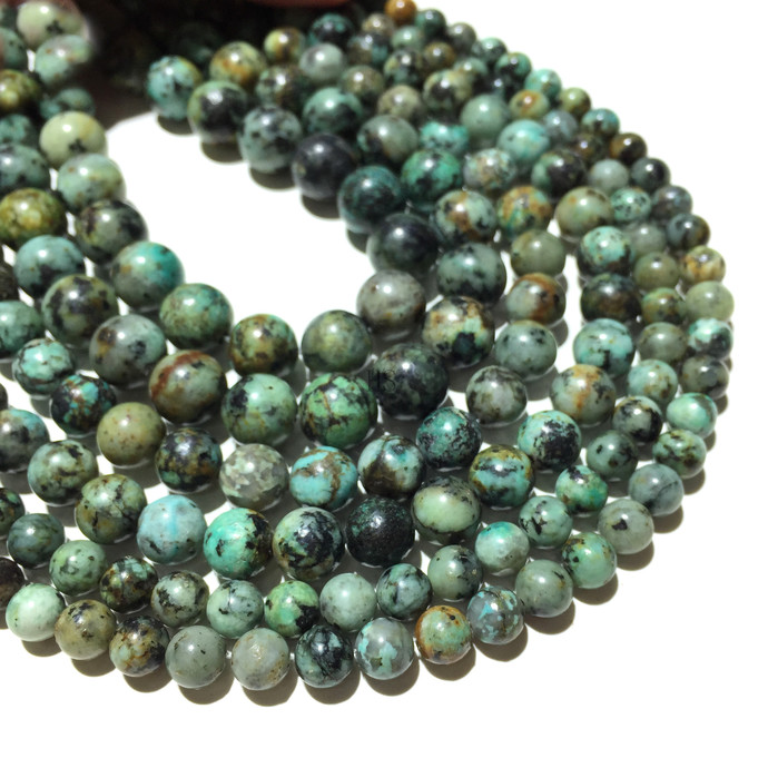 Natural Round African Turquoise Healing and Energy Gemstone Loose Beads Bracelet