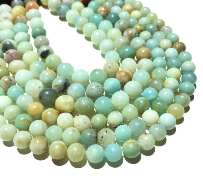 Natural Round Green Amazonite Healing and Energy Gemstone Loose Beads Bracelet