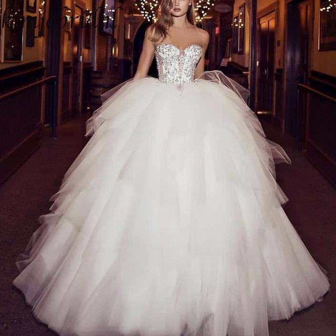 white wedding dress ball gown sweetheart neck beaded sparkly elegant luxury