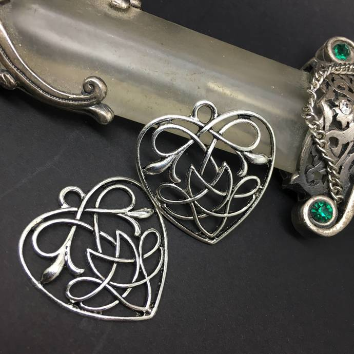 Art Nouveau Flower and Heart Charms Connectors