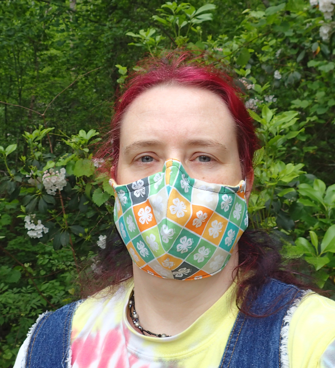 solid colored handmade washable face mask 100% cotton & flannel wire at nose
