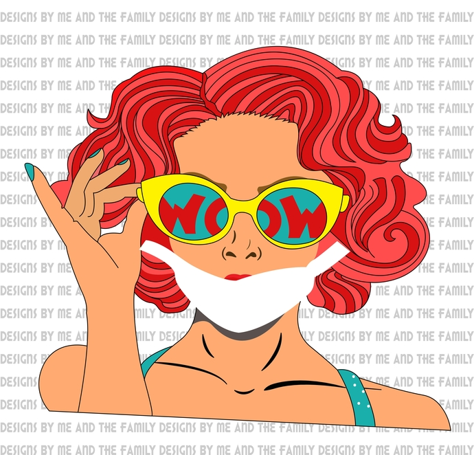 WOW lady, fun print, Vintage design, Cake Topper, adult funny, sexy girl, PNG