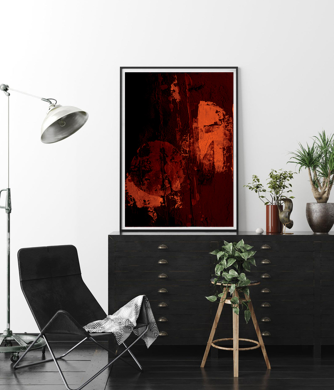 Printable Black orange Poster, Industrial Print, Modern Black abstract, ,modern