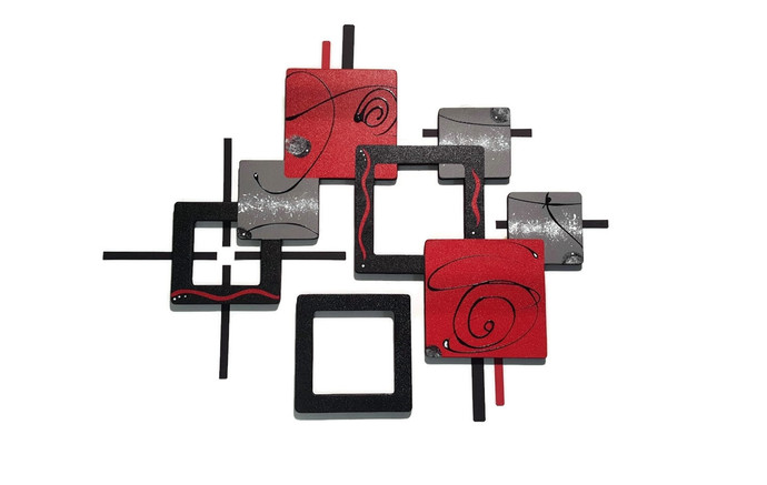 Contemporary Abstract Wood and Metal Wall Sculpture, Modern Red Black Wall