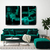 Teal Abstract Art, Emerald set of 2 Print, Green black diptych Wall Art, Sea