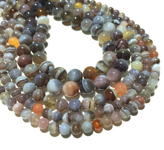 Natural Round Botswana Agate Healing and Energy Gemstone Loose Beads Bracelet
