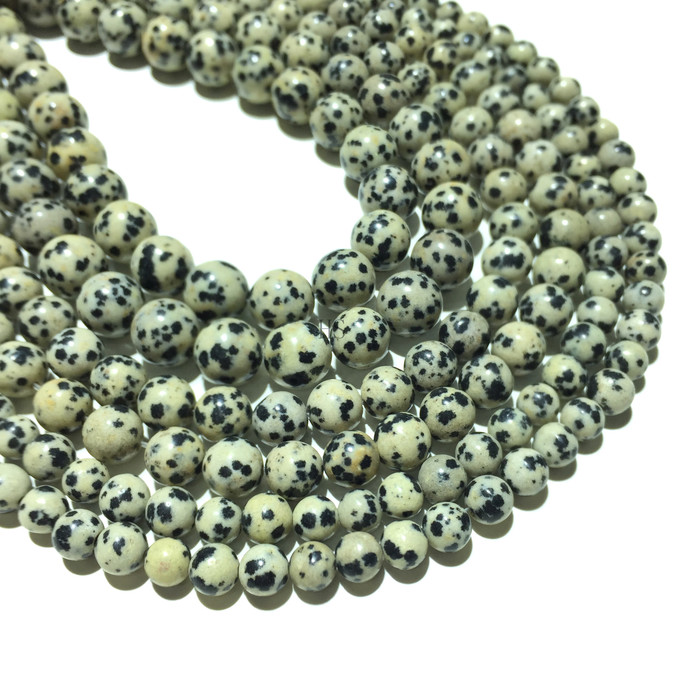 Natural Round Dalmation Jasper Healing and Energy Gemstone Loose Beads Bracelet