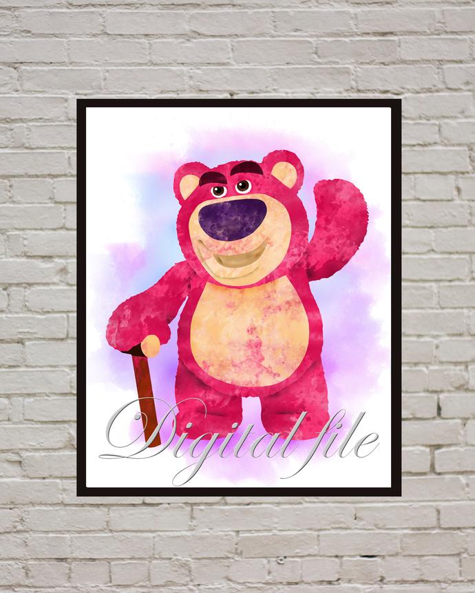 Toy Story Disney, Lotso print, poster, home decor, nursery room, wall decor,