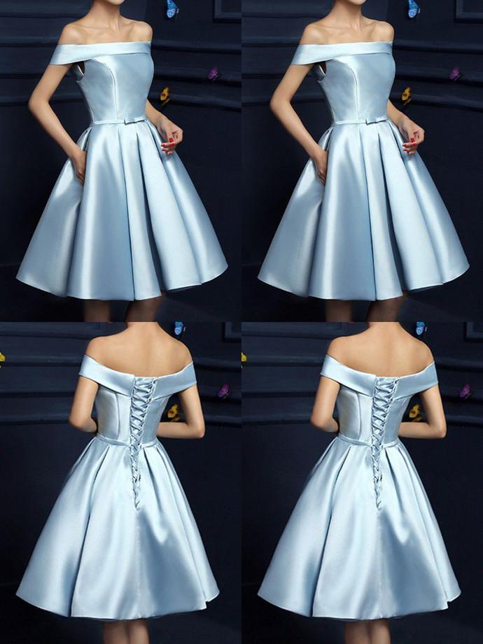 Cute Blue Satin Short Homecoming Dress, Lovely Off Shoulder Prom Dress