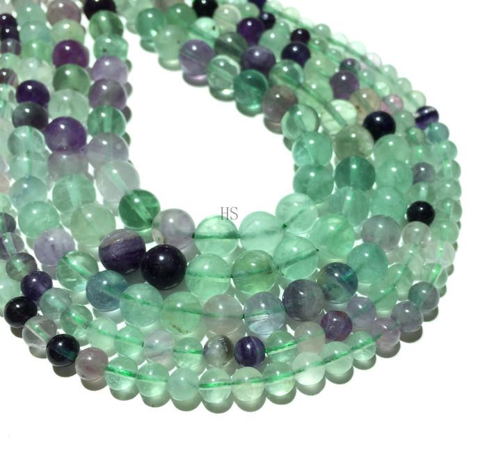 Natural Round Green Fluorite Jasper Healing Energy Gemstone Loose Beads Bracelet