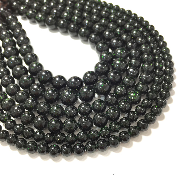 Natural Round Green Sand Stone Healing and Energy Gemstone Loose Beads Bracelet