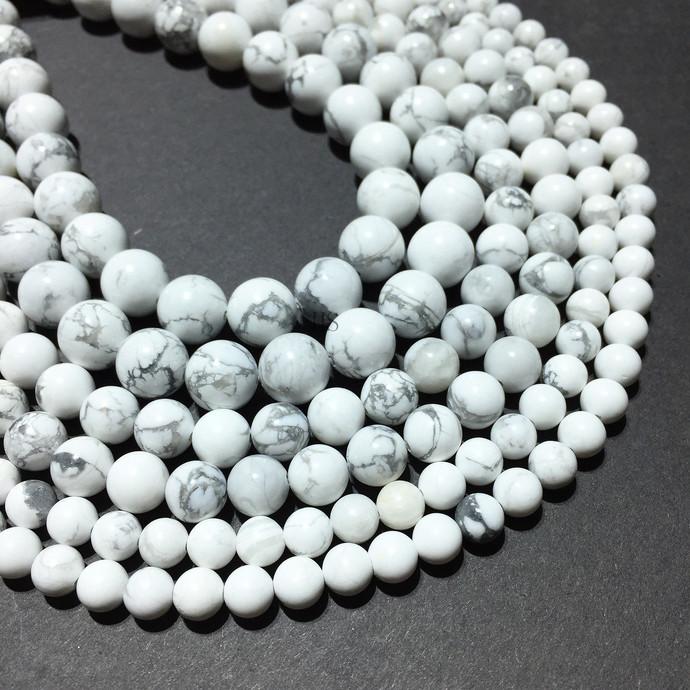 Natural Round White Howlite Stone Healing Energy Gemstone Loose Beads Bracelet