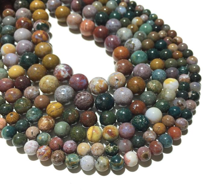 Natural Round Indian Agate Stone Healing Energy Gemstone Loose Beads Bracelet