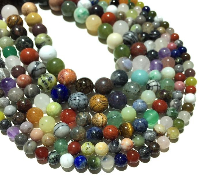 Natural Assorted Jasper Round Stone Healing Energy Gemstone Loose Beads Bracelet