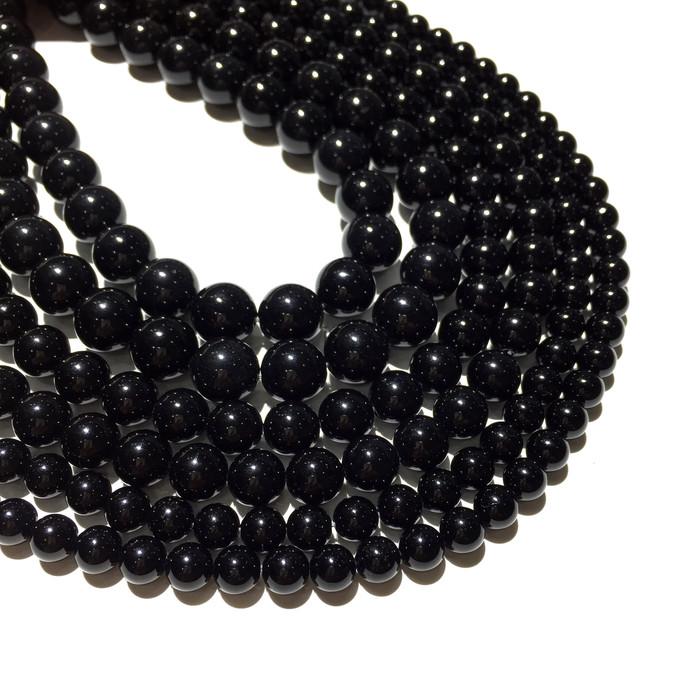Natural Round Black Onyx Stone Healing Energy Gemstone Loose Beads Bracelet