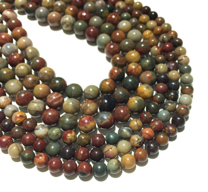Natural Round Picasso Jasper Stone Healing Energy Gemstone Loose Beads Bracelet