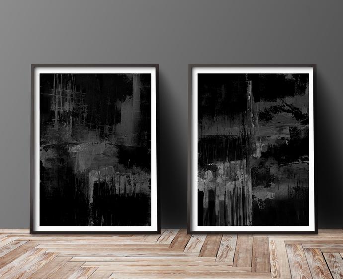 Printable abstract, dark set gray black, contemporary art, modern art set of 2