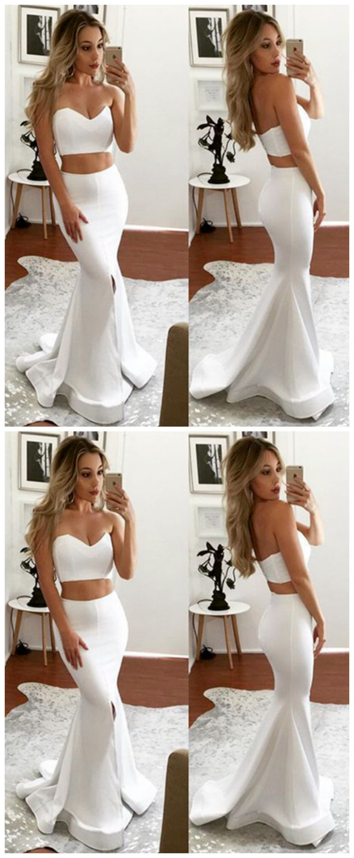 Two Pieces Sweetheart Mermaid Prom Dresses,Long Prom Dresses,Cheap Prom Dresses,
