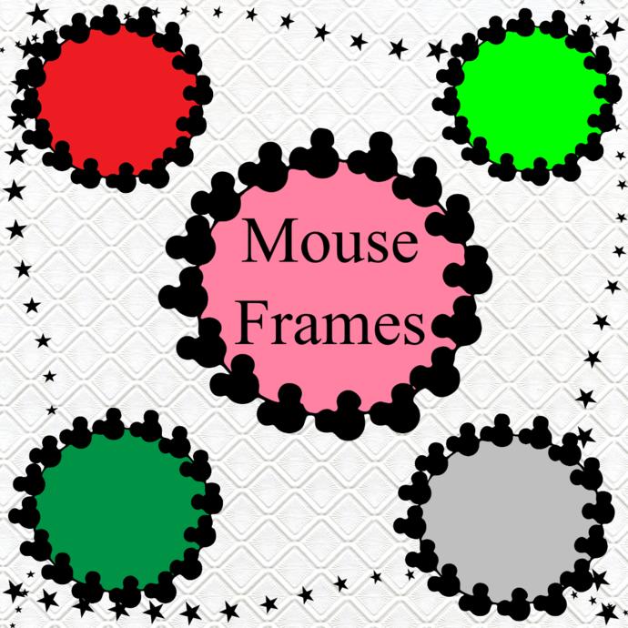 Mouse Color Frames 1b-Digital ClipArt-Art Clip-Gift