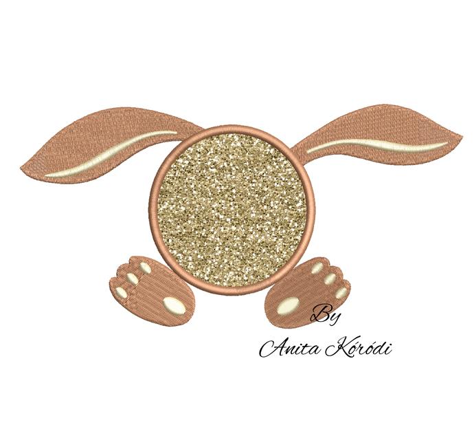 Bunny Monogram Applique Embroidery Machine Design Instant Download Pes Design