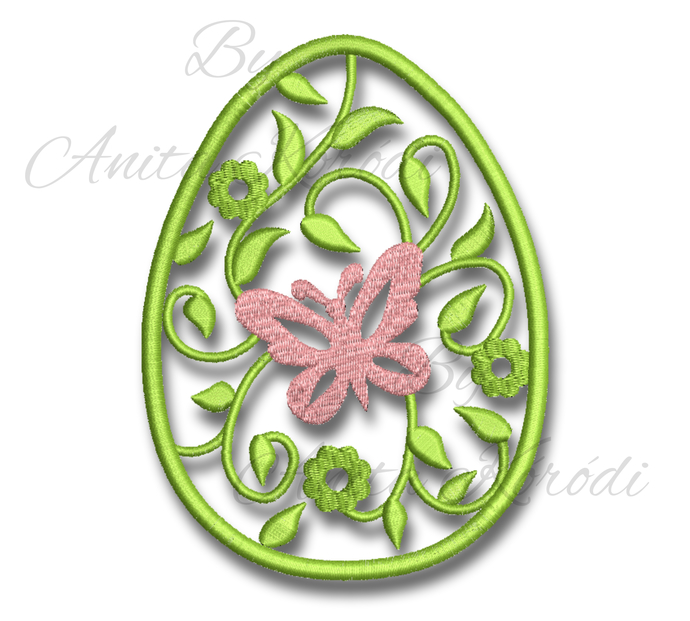 Ornate egg embroidery machine designs easter bunny pattern digital instant