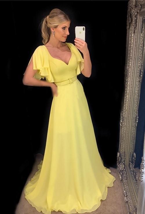 yellow prom dresses long modest v neck short sleeve elegant simple prom gown