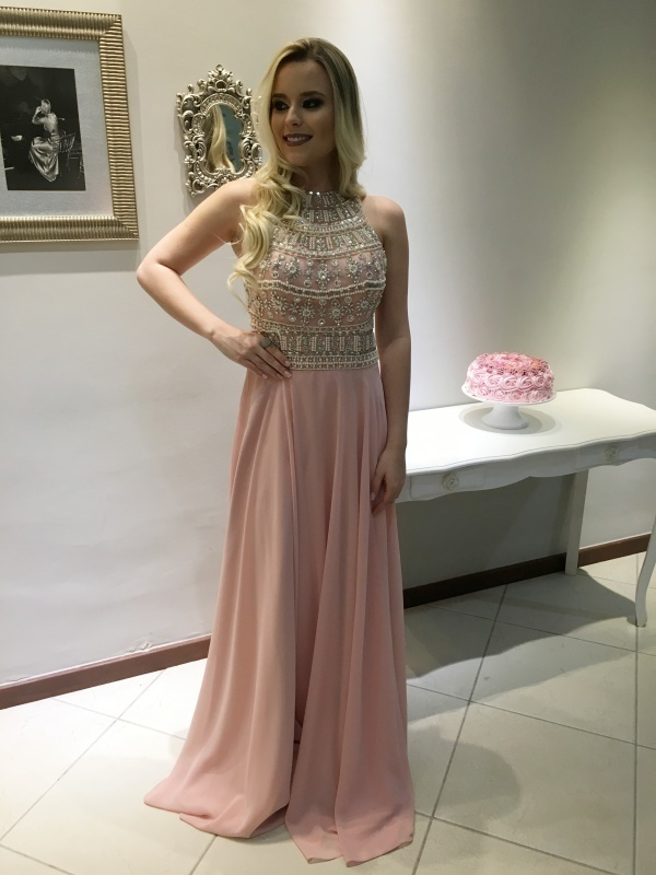 halter prom dresses 2020 vestido de festa de longo beaded pink chiffon luxury