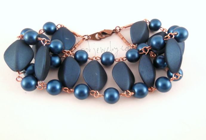 Handmade Beaded Copper Ladder Bracelet