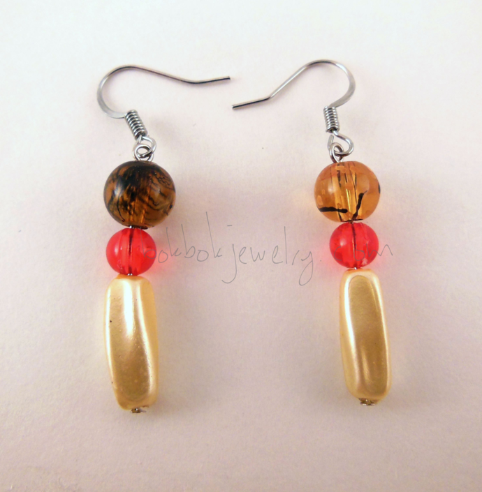 Handmade Red and Golden Hypoallergenic Beaded Earrings