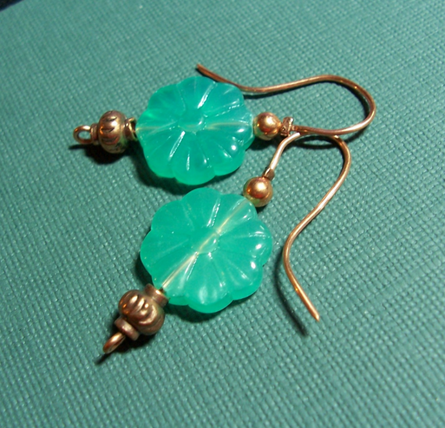 Pale Jade Geen Glass & Copper Earrings
